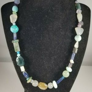 Green Brown Faux Stone Bead Necklace